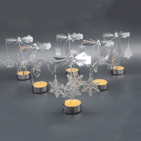 1x Rotating Candlestick Romantic Candle Holder Heart Dear Dinner Tea Light Decor