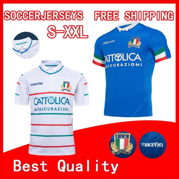 TOP 2019 Italy home blue away white Rugby Jerseys FIR shirt Italia national team Abbigliamento da calcio Italy League jersey size S-3XL