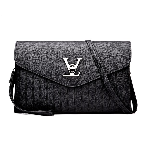 Latest New Fashion Brand V Word Pu Leather Women Black Red Gray Shoulder & Crossbody Bag Handbag Messenger Bag Ladies Baguette C19031801