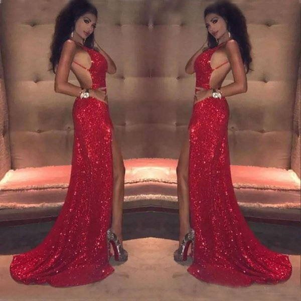 Sexy Red Sequins Prom Dresses Long 2020 Sheath Spaghetti Backless African Black Girl Celebrity Evening Gowns