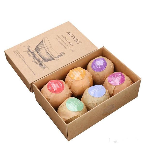6 unids / 1set Bombas de baño orgánicas Burbujas Sales de baño Bola Aceite esencial Hecho a mano SPA Alivio para el estrés Exfoliante Menta Lavanda Sabor rosa