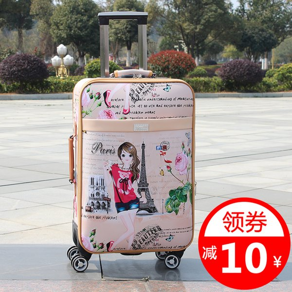 The new 2019 rolling suitcase wanxianglun Oxford cloth luggage suitcase card with soft leather and