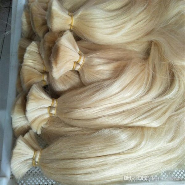 Human Hair Bulk Extension Great Quality Hair Bulk No weft Silk Straight 12-26 Inch 613 Blonde hair for braiding, free DHL