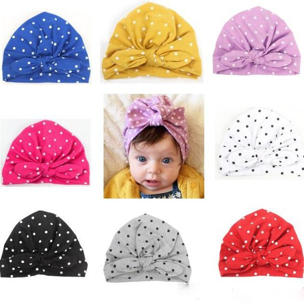 Sweet Baby hat Infants Dots Knot Bunny Bow hats Indian Caps Maternity 2019 Fall winter 9 Colors Cheap price Wholesale 0-1Y