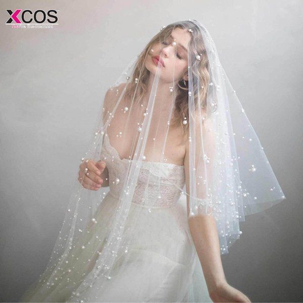 In Stock One Layer Fingertip Veil Pearls Ivory Wedding Accessories Cut Edge Bridal Veils Voile De Mariee C19041101