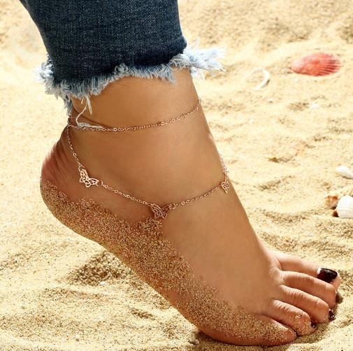 Sandalias descalzas para yoga bailar mariposa encanto de campana chapado en oro tobillo pulseras tobilleras de playa cadena del pie
