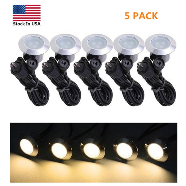 US Stock 5 Pack Recessed LED Outdoor Step Lights Small Decking Lights Low Voltage 12V Waterproof Landscape Lamps