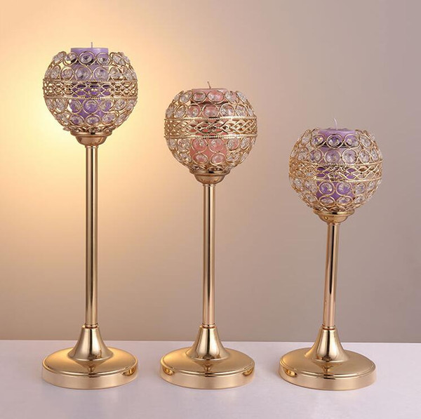 Crystal Metal Candle Tealight Holders Stand Candlesticks Candelabrum for Wedding Party Table Centerpieces Candelabra Holiday Home Decoration