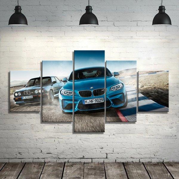 Toile imprimée Poster Home Decor 5 Pièces HD M3 Bleu Sport Peintures voitures mur Art Photos salon modulaire Framed