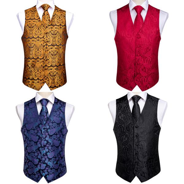 DiBanGu Berühmte Weste für Männer Gelb Rot Schwarz Blau Paisley Herren Weste Anzug Geschäfts Hochzeit Anlass Einstecktuch Manschettenknöpfe Westen