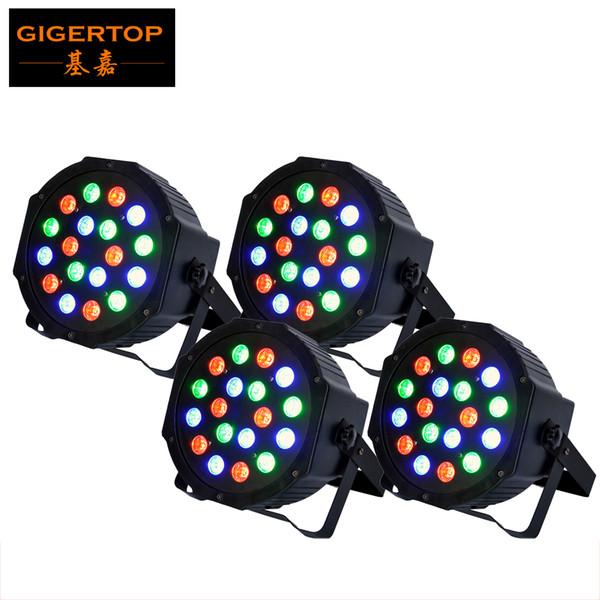 TIPTOP 4XLOT 18 x 3W Led Par Light DMX 3/6 Channel RGB Color American DJ Flat Par TP-P183 Quad Colored LED Wash Can Plastic case