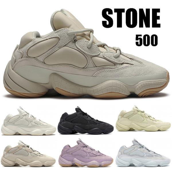 best selling Stone 500 Soft Vision Desert Rat Mens Designer Shoes Bone White Utility Black Super Moon Yellow Salt Blush Kanye West Running Sneakers 36-46