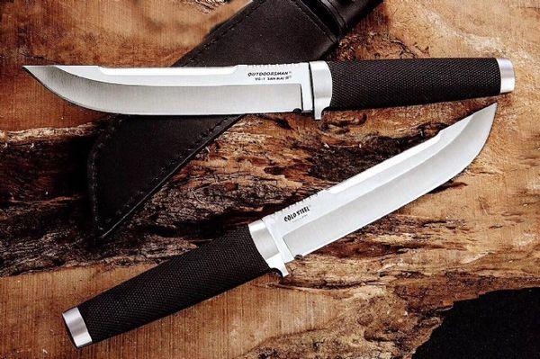 Новый OEM Cold Steel Открытый Человек Выживания Прямой Нож VG1 San Mai Стали Точка Опускания Атласные Лезвия Ножей С Кожаной Ножной