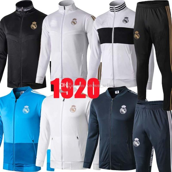 NEW 2019 2020 Real Madrid soccer jacket tracksuit long pants jackets 19 20 HAZARD Training suit kits soccer tracksuit ASENSIO Sweatshirt
