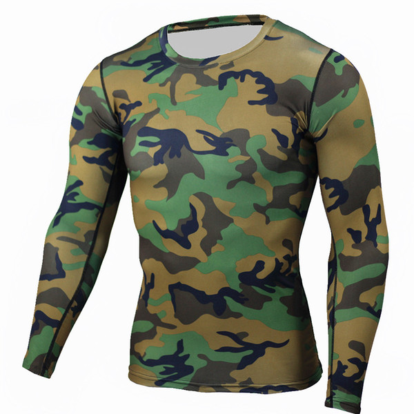 Wholesale Man Multicam T-shirts Army Camouflage Combat Tactical T Shirt Military Men Long Sleeve T-Shirt Hunt T-shirts