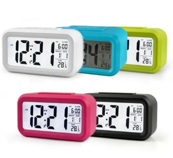 Sensor de bateria Nightlight Relógio de Mesa de Escritório Despertador Digital Estudante Grande Display LCD Snooze Crianças Luz