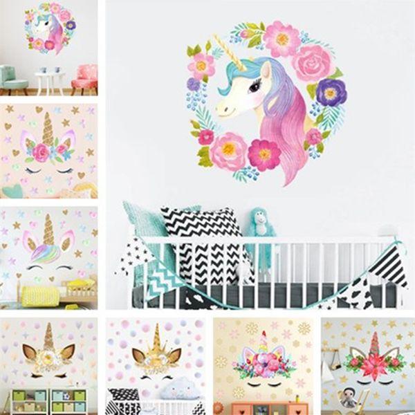 Hot beautiful wall stickers creative rainbow unicorn Reflective sticker PVC Material wall stickers Home decoration T7I5023