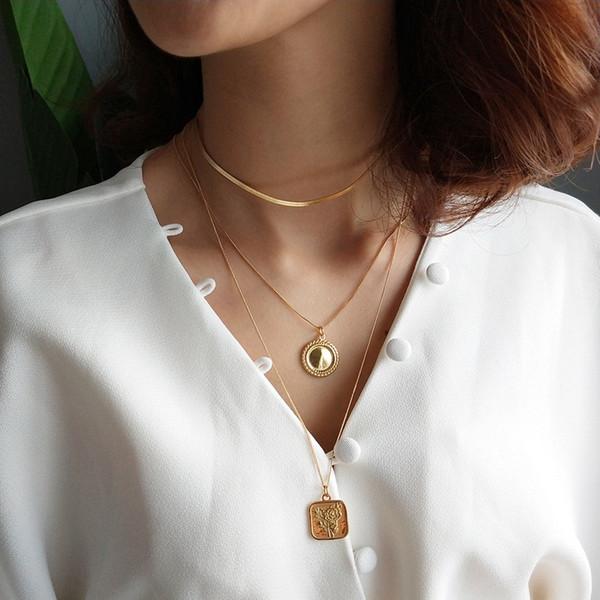 925 plata esterlina corazón geométrico collar redondo de oro brillante superficie cuadrada tarjeta rosa flores colgante collar para regalo de las mujeres