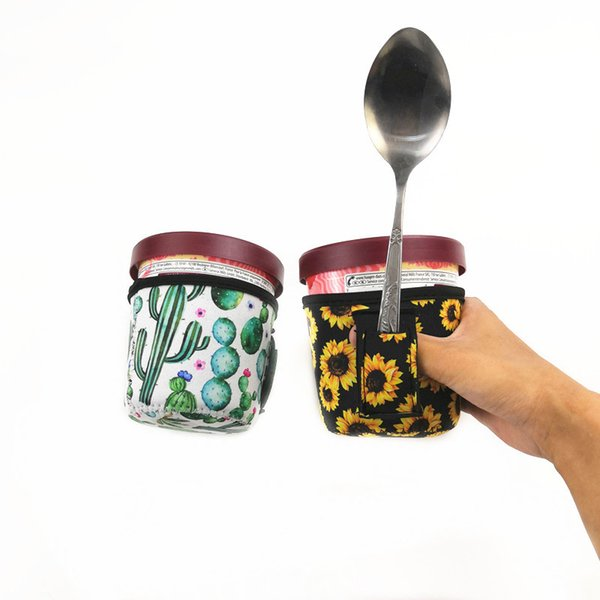 top popular New Fashion Ice Cream Can Cooler Cover ,Koozie with Leopard and Cactus Neoprene Can Holder Cover DOMIL 2019