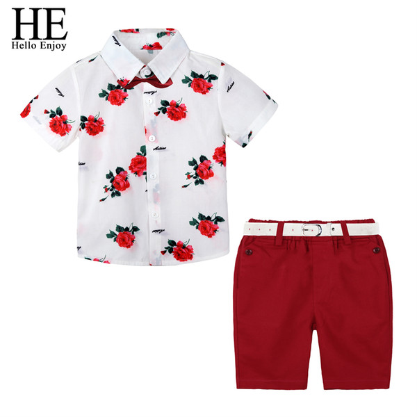 He Hello Enjoy Boys Boutique Clothing Fashion Baby Boy Clothes Summer Set Gentleman Print Floral Bow Tie Shirt+shorts Suits Kids J190718