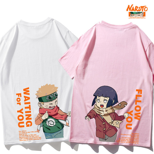 Japanese Harajuku Men T-shirt Cartoon Anime NARUTO Hinata Uzumaki Printed Loose Short Sleeve Tops Lover Couple Matching T Shirts