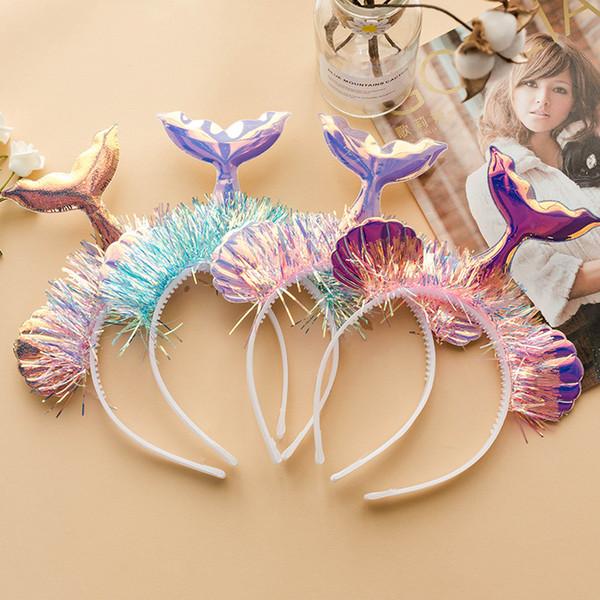Shell Sereia Cauda Headbands Brilhante Laser Meninas Hairbands Estágio Foto Headwrap Hoop Crianças Headwear Cosplay Cabelo Varas Headband KKA6919