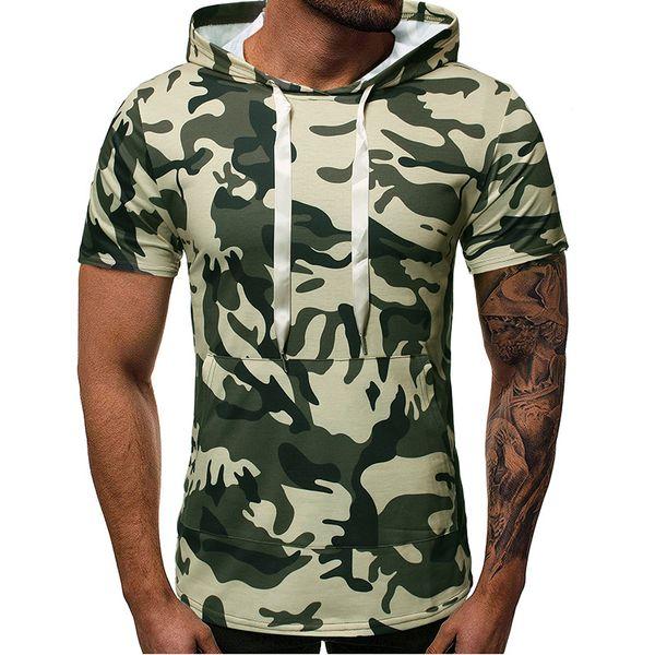 Mens Camouflage Hooded Zipper Tshirt Panelled Short Sleeve Mens Designer Tops Teenager Fashion SportsTees