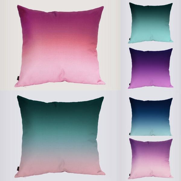 Acheter 18 Pouce Couleur Gradient Taie D\'oreiller Imprimé Coussin En Lin  Salon Jardin Décoration Throw Pillow Chaise Voiture Canapé Taille De $3.92  Du ...