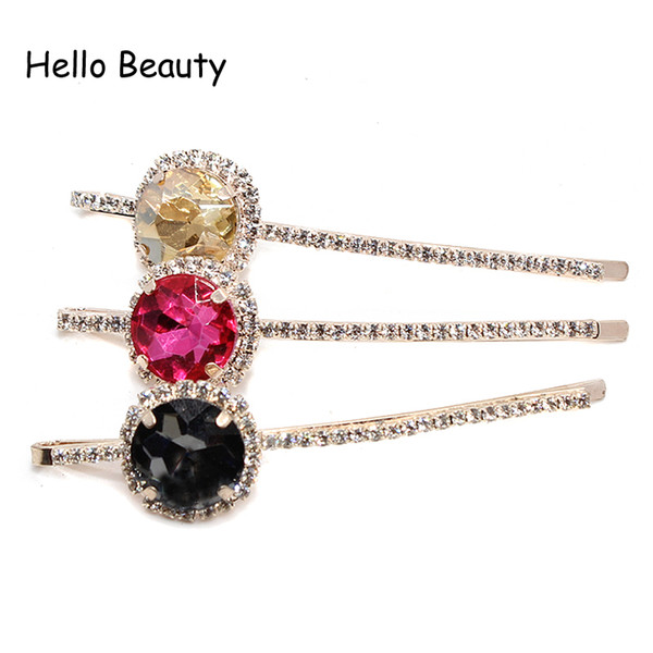 crystal barrette 1Pair Korean Fashion New Accessories Pink Crystal Barrette Gray Rhinestone Circle Hair Clip For Women Jewelry Hairwear