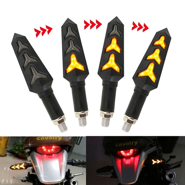 best selling 2Pcs Flowing Water LED Motorcycle LED Turn Signal Lamp Sequential Indicator Light Amber Blinkers flickerred brake lamp