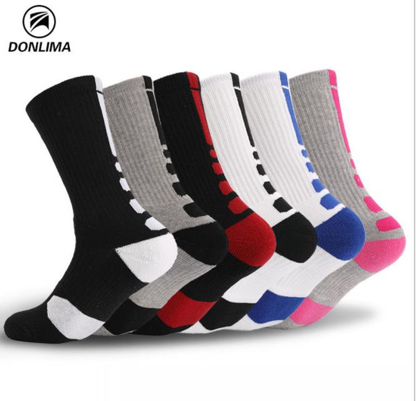 Basketball Socks Men's Professional Elite Socks and Stockings for Outdoor Sports Skid-proof, Sweat-absorbing and Thicker Towel Bottom Black,