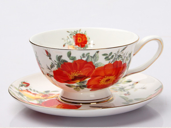 Rose sauvage en céramique après-midi tasses à thé noir et soucoupes Tasse à café en porcelaine avec plateau en porcelaine