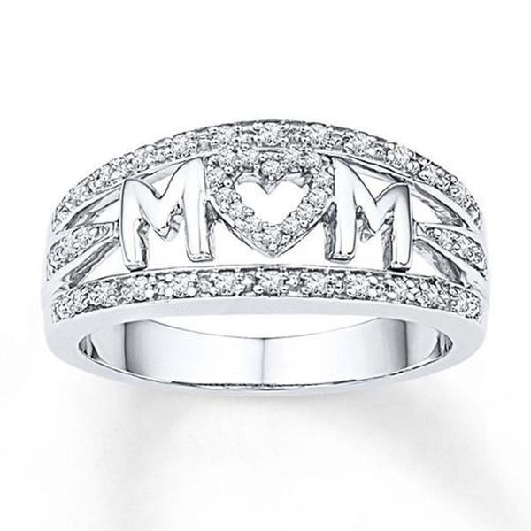 Liebe Mom Rose Gold Farbe Ringe für Frauen Shiny Zirkon Strass Ring Schmuck Muttertags Geburtstagsgeschenk