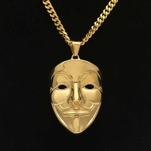 Wholesale New Mens Hip Hop Jewelry Gold Cuban Link Chain V Vendetta Mask  Pendant Necklace Fashion Jewelry K3731 Charm Bracelets Necklaces From