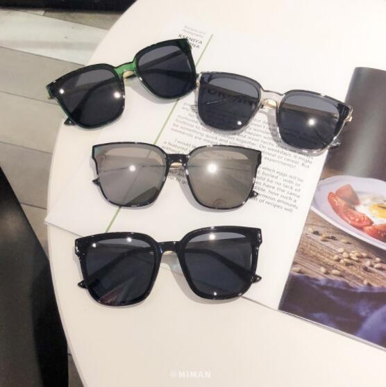 Gafas de sol cuadradas de montura grande de moda coreana para mujer 2019 gafas de sol transparentes negras de cara redonda nuevas gafas transparentes hombre