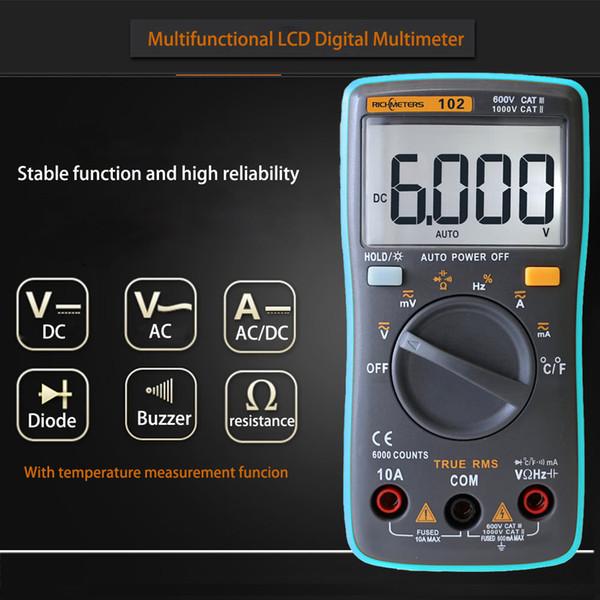 LCD Digital Multimeter DMM Detector DC AC Voltage Voltmeter Meter Resistance Diode Capaticance Tester Temperature Meaurement Multimeters