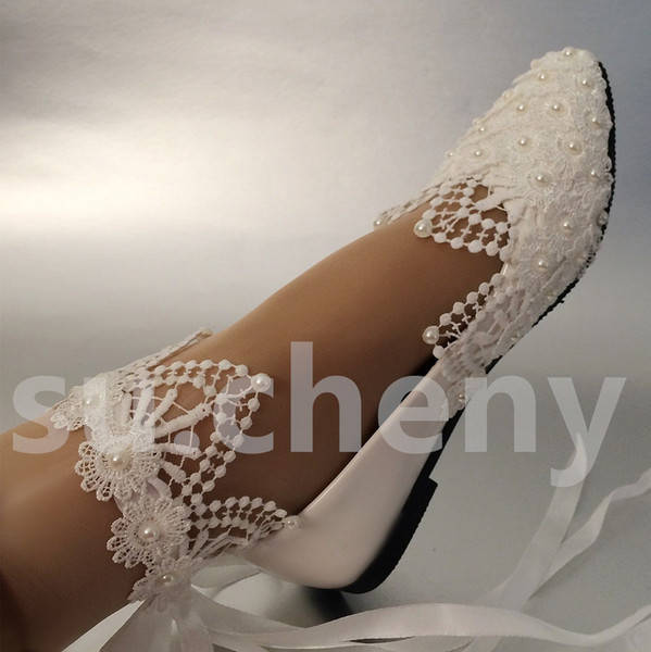 Плоский белый свет слоновая кость кружева жемчуг горный хрусталь лодыжки низкий высокий каблук свадебные свадебные туфли женская партия обувь
