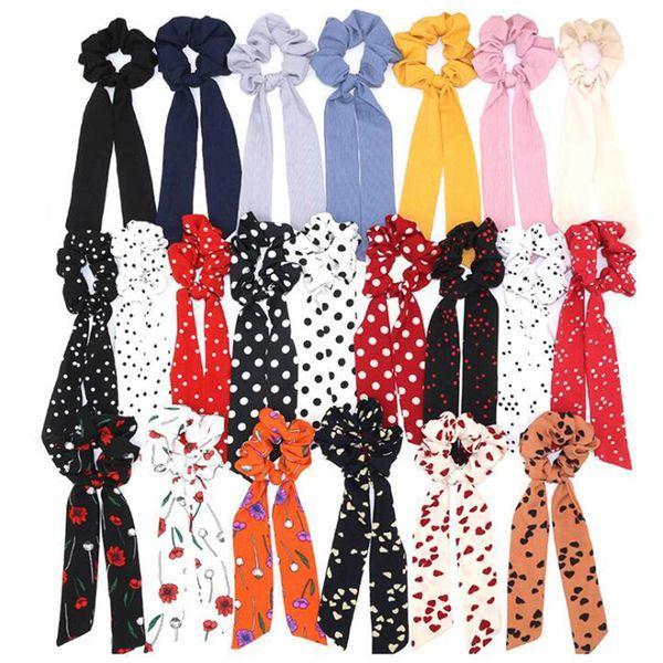 Bohemian Polka Dot Floral Printed Ribbon Bow Scrunchies Mujeres Banda elástica para el cabello Bufanda Cuerda para el cabello Corbatas Niñas Accories