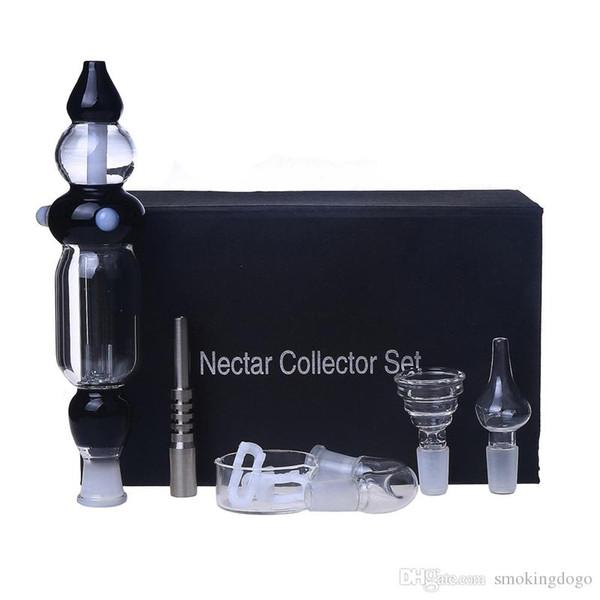 Smoking Dogo New Version Nectar Collector Kit with Curved Glass Bowl Nail Titanium Nail Honey Straw Unit Glass Dish Quartz Nail