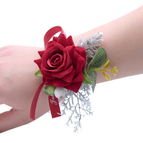 Hot Sale Wedding Wrist Flowers Party Wrist Corsage Decoration Bridesmaid Artificial Flowers Decorated Bridal Organza Ribbon