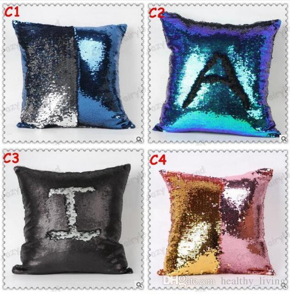 Sequins Pillow Case Mermaid Reversible DIY Magic Double Glitter Throw Pillow Case Cafe Home Square Cushion Covers 19 Colors Free Shipping
