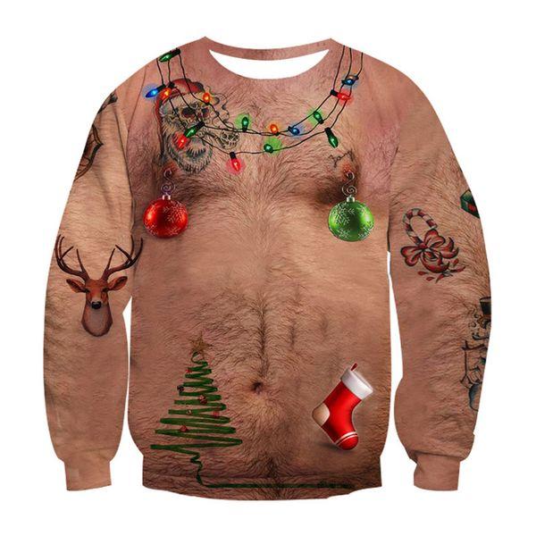 Ugly Christmas 3d Hoodies Sweat Chest Hair Print Funny Hoodie Alisister Moletom Vêtements de Dessus Unisexe Hauts Sudadera Hombre