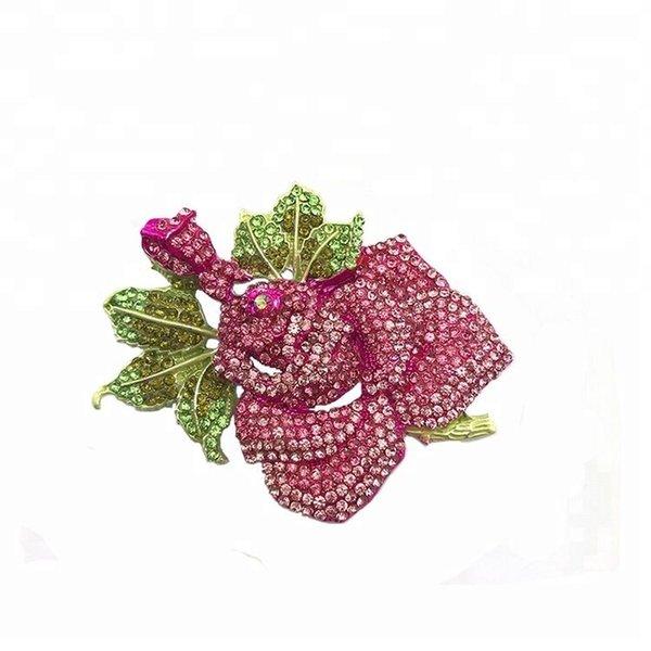 5 pcs /55mm Silver Tone Alloy Rhinestone Crystal Flower Rose Brooch PARTY Wedding Bridal Boutique Brooch