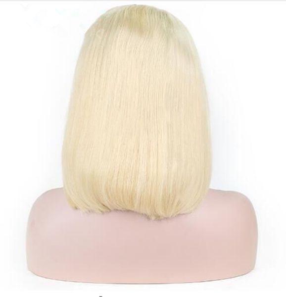 Ombre 613 Blonde Courte Bob Perruque Avant de Lacet Perruques de Cheveux Humains Partie Milieu Naturel Hairline Remy Brésilien
