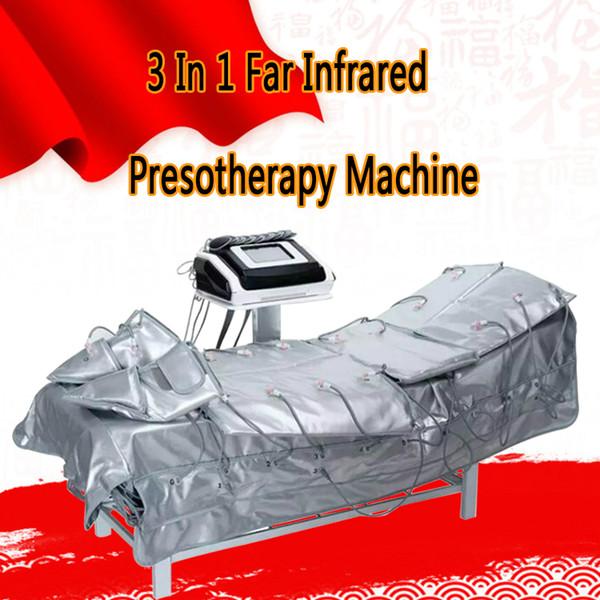 3 em 1 Pressotherapy infravermelho distante EMS estimulação elétrica do músculo pressão de ar da sauna Pressão Pressotherapy equipamento do emagrecimento do corpo da drenagem da linfa