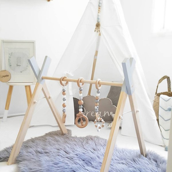 Nordic Style Baby Gym Play Nursery Sensory Ring-pull Toy Wooden Frame Infant Room Toddler Clothes Rack Gift Kids Room