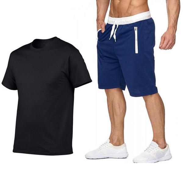 Verão novos Conjuntos de Camisas Dos Homens T + Shorts Duas Peças Conjuntos de Treino Ocasional 2019 Maré marca homens calções Ginásios de Fitness Sportswears