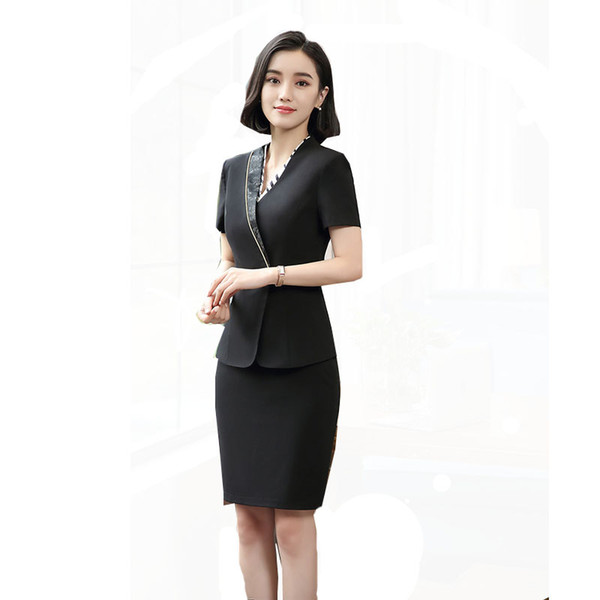 2019 Summer Work Suit Short Sleeve Single Button Blazer + Elegant Skirt 2 Pieces Set Business OL Skirt Suit Formal Clothes