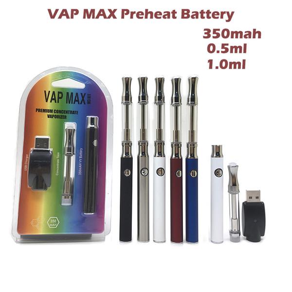 Premium-Vap Max Battery Vertex E Zigarette Kit 350mAh vorheizen VV-Batterie für Keramik / Cotton-Core 0,5 ml 1,0 ml Kartuschen Vape Kit