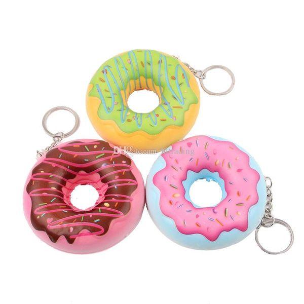 Squishy 8 cm Kawaii suave llavero Squishy Donut Slow Rebound Squeeze Bun descompresión juguete accesorios del teléfono Squishies simulación de juguete C6346